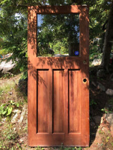 EXTERIOR FRONT DOOR - Solid Wood with Glass Window