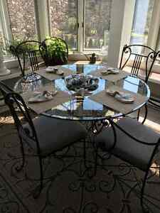 Glass/Iron dining table & 4 chairs