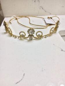 New w/ Tags Jennifer Behr Gold Bridal Swarovski Crystal Headband