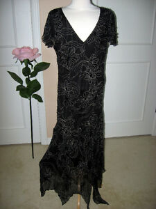 Jacques Vert Black Silk Beaded Dress