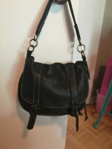 Roots Leather Handbag - Black