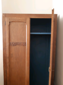 Wardrobe Cupboard - wood painted petrol blue