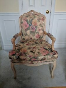 FRENCH ARM CHAIR HAND CARVED WOOD FRAME HIGH END FABRIC