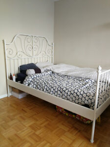 WHITE METAL BED FRAME, NEED GONE ASAP!! DOWNTOWN