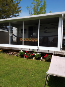Screened walls for trailer add a room  16X8