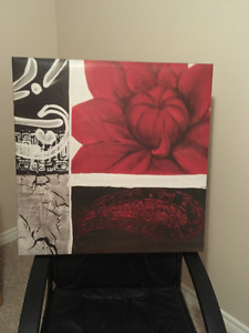 Red/Brown canvas flower picture