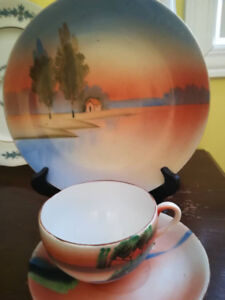 "Hand paint Japanese cup set and dish, ""Made in Japan"""