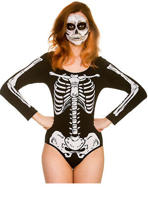 Womens Halloween Fancy Dress Costume Skeleton Print Leotard Bones UK 6-20 Sexy ()
