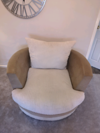 Sofology cream and Mink 2 Seater sofa and 2 Seater Swivel chair