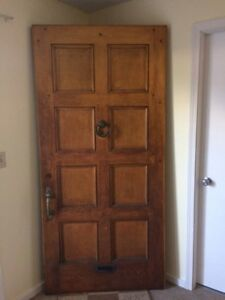 Solid Oak Antique Exterior Front Door w/ Original Hardware
