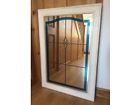 Large heavy stained glass mirror