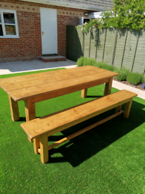 Distressed Pine Plank Dining Table and Matching Bench#Reduced for qui