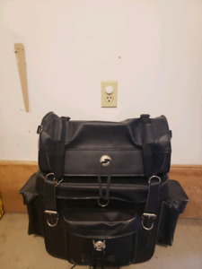 Leather luggage rack bag
