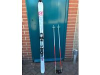 Pair of skis, sticks and travel case for it