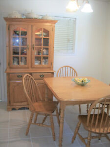 Table with 6 chairs, leaf and Hutch-Buffet-OAK-905-442-2000