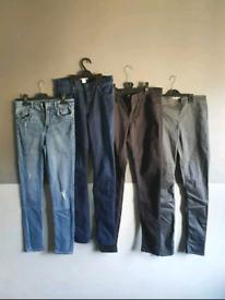 womens h&m skinny jeans jeggings bundle x4 blue black grey