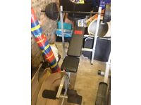 Pro weights bench with weights hardly used