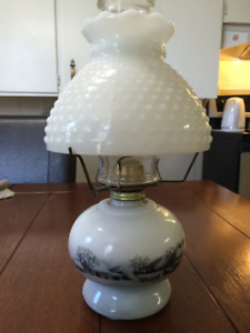1950s Currier & Ives Milk Glass Kerosene Lamp