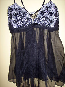 NEW WITH TAGS-Beautiful Black Teddy w/White embroidered bustline