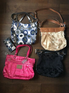 4 Coach Purses plus one matching wallet