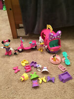 Minnie mouse play set, motorbike, minnie-bus