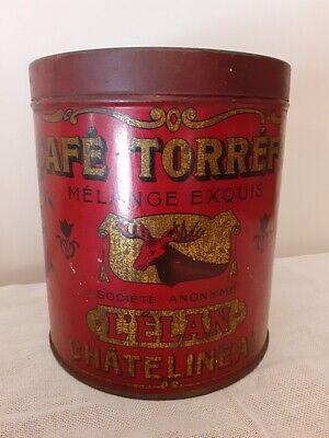 Ancienne boite à café torréfié L'élan rouge - Vintage red Coffee container