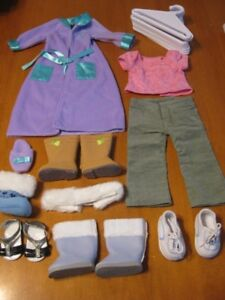 "AMERICAN GIRL DOLL CLOTHES, hangers AND SHOES 18"" DOLLS"