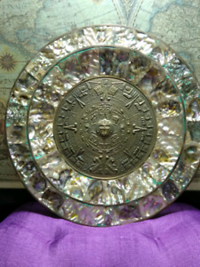 Vintage brass and abalone shell inlay Aztec Calendar