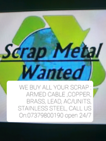SCRAP METAL WANTED!!!FREE COLLECTION ALL LONDON AREAS