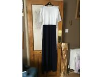 Floor length dress , lace white top ,navy blue bottom .size medium .
