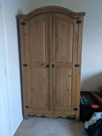 Solid Pine Wood Wardrobe