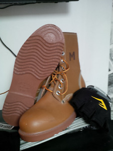 Hi-Top Steel Toe Construction Boots with green patch. Reduced