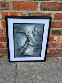 Black and white Original framed abstract art