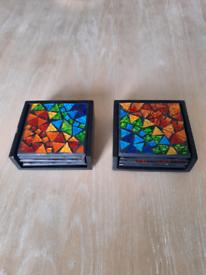 Glass rainbow mosaic coasters