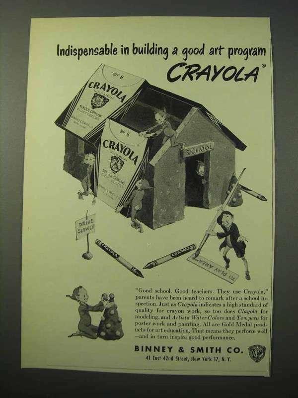 1951 Crayola Crayons Ad - Building a Good Art Program