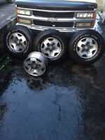 Aluminum Rims and tires one tire missing