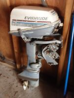 6 hp 2 stroke evinrude outboard motor with tank