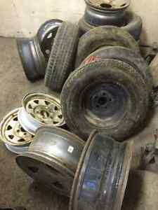 "Solid rubber Tires, Rims-for F-250, 15"" trailer tires"