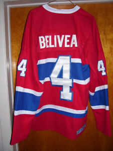 CHANDAIL  HOCKEY LHN MONTREAL CANADIENS NHL JERSEY JEAN BELIVEAU