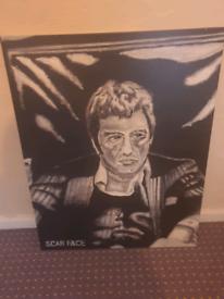 Scarface canvas black & white (Al Pacino)