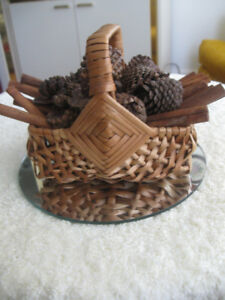QUAINT LITTLE WOVEN BASKET LOADED with CRAFT SUPPLIES