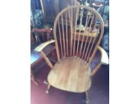 Vintage retro wooden Ercol blonde rocking nursing chair mid century modern