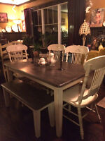 Solid Oak (no veneer or mdf) Dining/Bench/4 Chairs