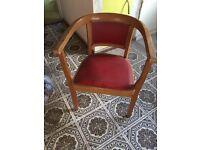 Red wood retro vintage bucket chair bedroom hall dressing table teak