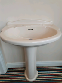 Cream sink and Toilet