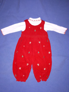 Toddler Girls 2pc Corduroy Christmas Outfit Size 24mts EUC