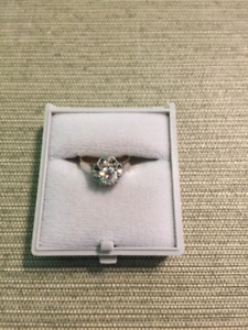 18KT yellow and white gold lady's diamond engagement ring