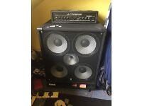 Behringer Ultrabass 180 W Head + Harley Benton Bass Cab. Bass Guitar Head ONO
