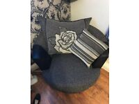 FOR SALE 2 seater anya charcoal/black leather sofa with 2 x black / charcoal swirl chairs