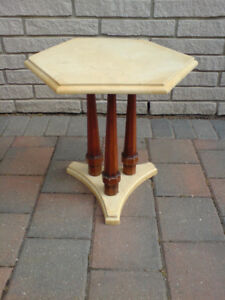 Antique Hexagonal Alabaster End Table From 1960's Vintage